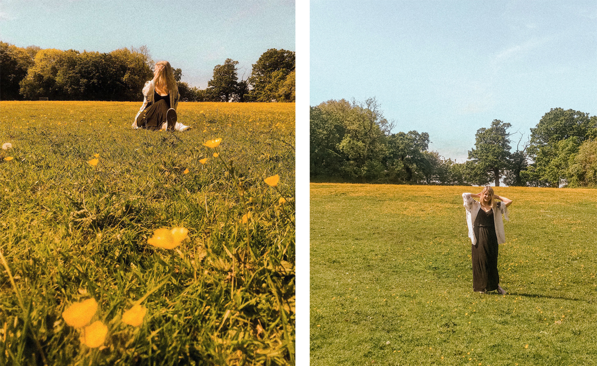 Blonde Blogger Chloe Harriets on Summers Day in Buttercup Field - May Round Up