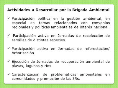 Actividades a desarrollar por la Brigada Ambiental