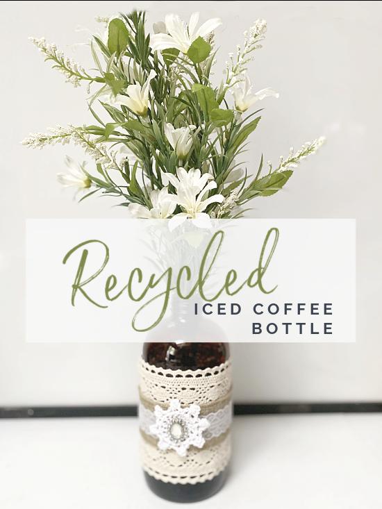 iced coffee bottle upcycle with overlay