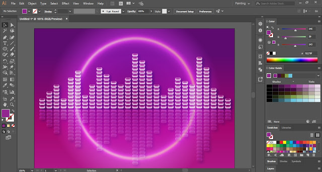 Music Equalizer Background in Adobe Illustrator