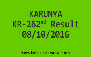 KARUNYA KR 262 Lottery Results 8-10-2016