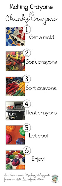 Steps for making chunky crayons. - Upcycled Crayons - Texture Rubbing Crayons - Recycled Chunky Crayons