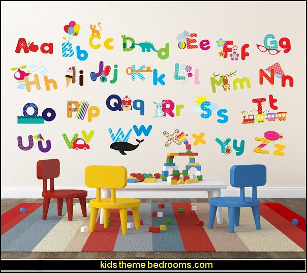 Whimsical Alphabet Decorative Peel & Stick Wall Art Sticker Decals