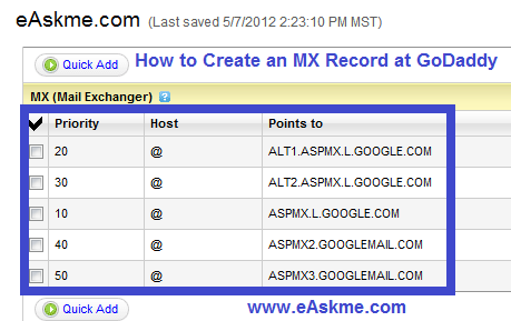 How to Create an MX Record at GoDaddy : eAskme