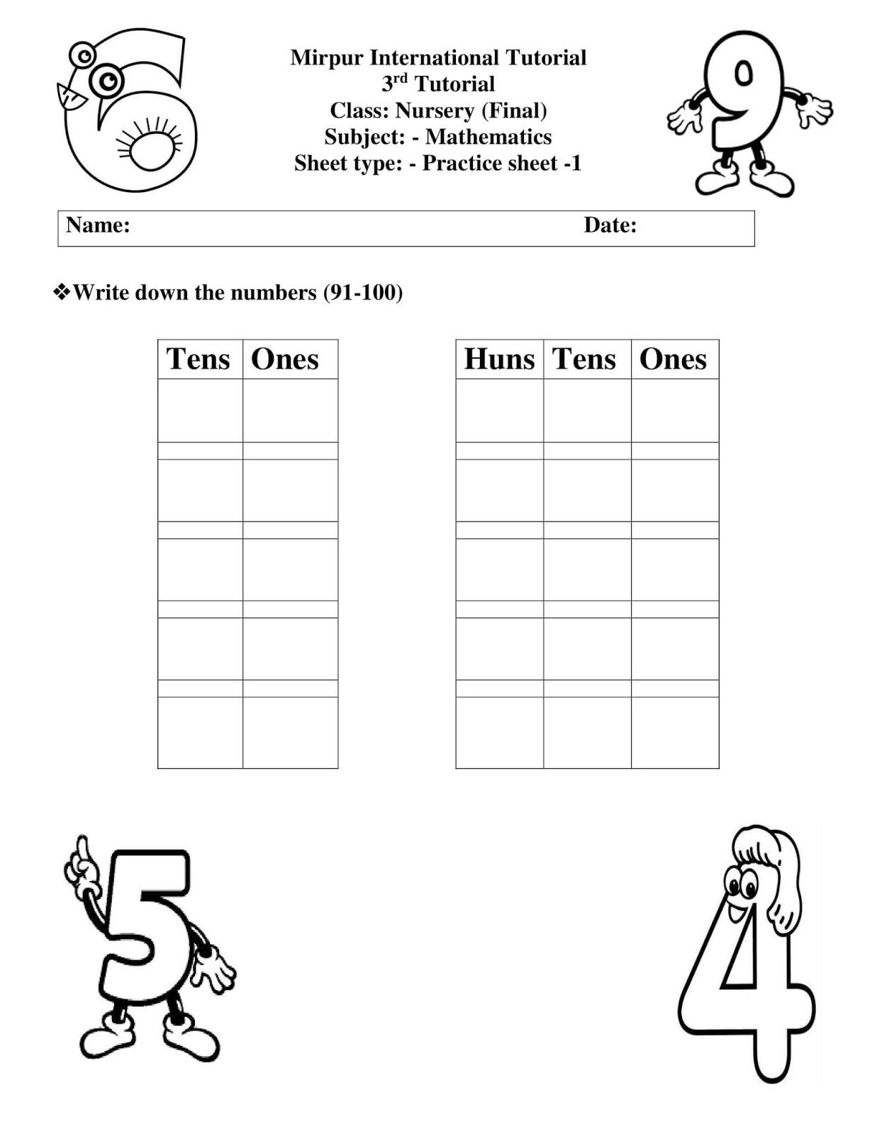 Junior Section Pg Std Iv Nursery All Worksheet