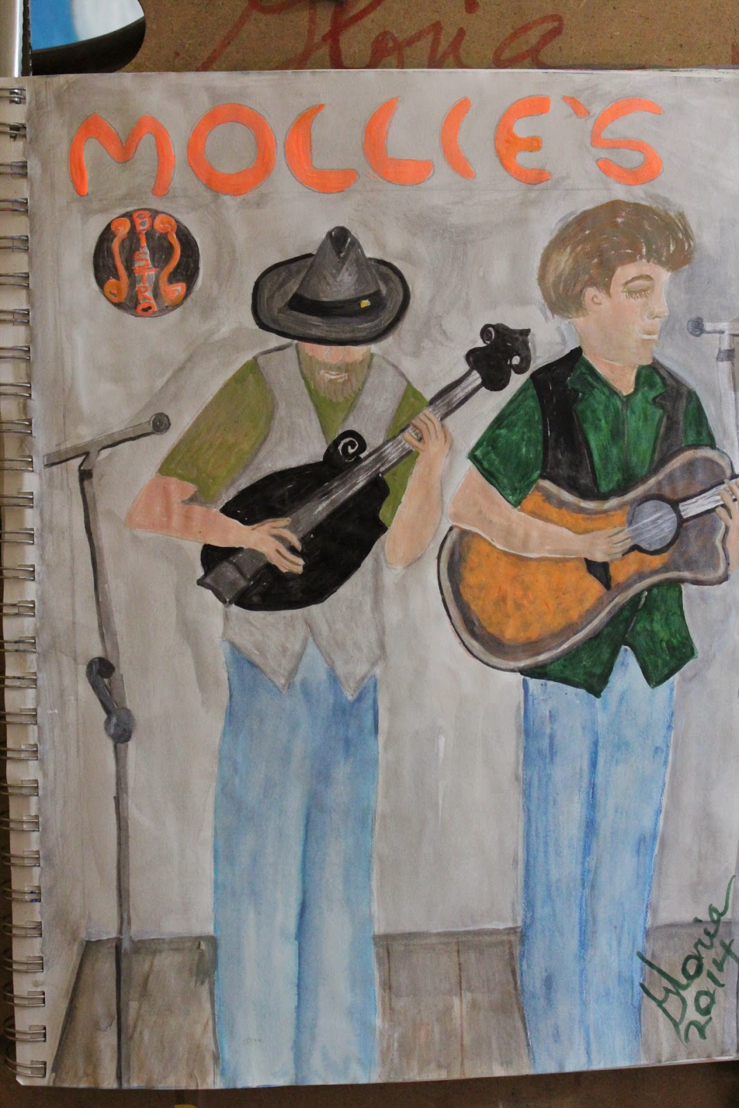 """Mollie's Bistro musicians"" sketch by Gloria Poole of Missouri 19-Mar-2014"