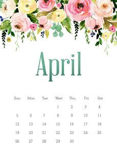 Flores en Acuarela: Calendario 2020 para Imprimir Gratis.