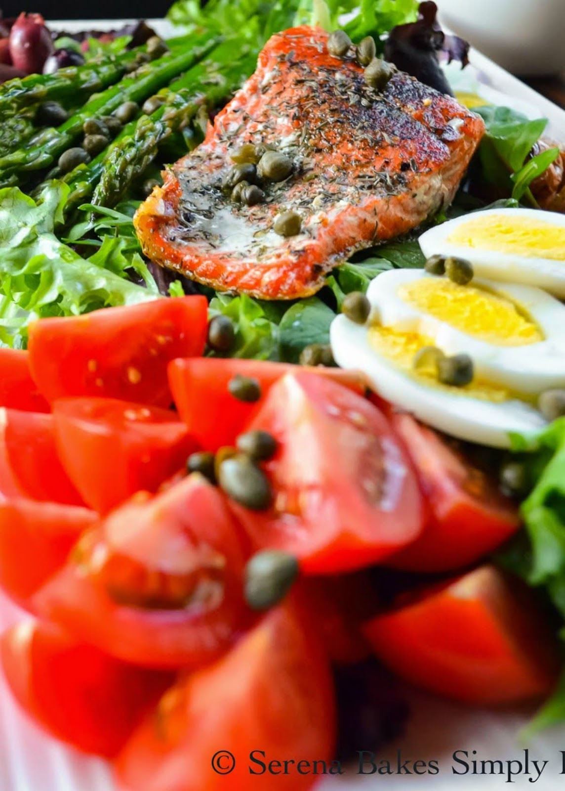 Salmon Nicoise Salad is a family favorite healthy dinner recipe like they serve at the Nordstrom Cafe from Serena Bakes Simply From Scratch.