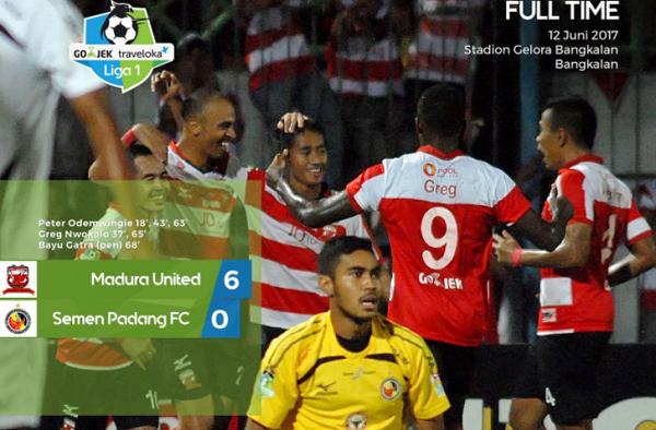 Cukur Semen Padang 6 Gol Tanpa Balas, Madura United Puncaki Klasemen
