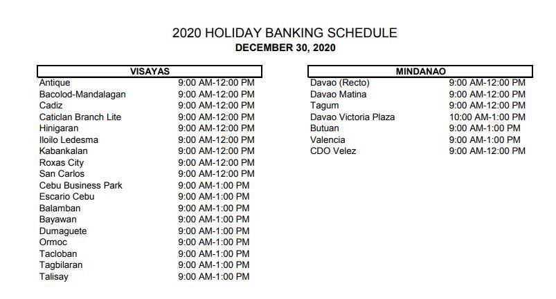 RCBC bank schedule December 30, 2020