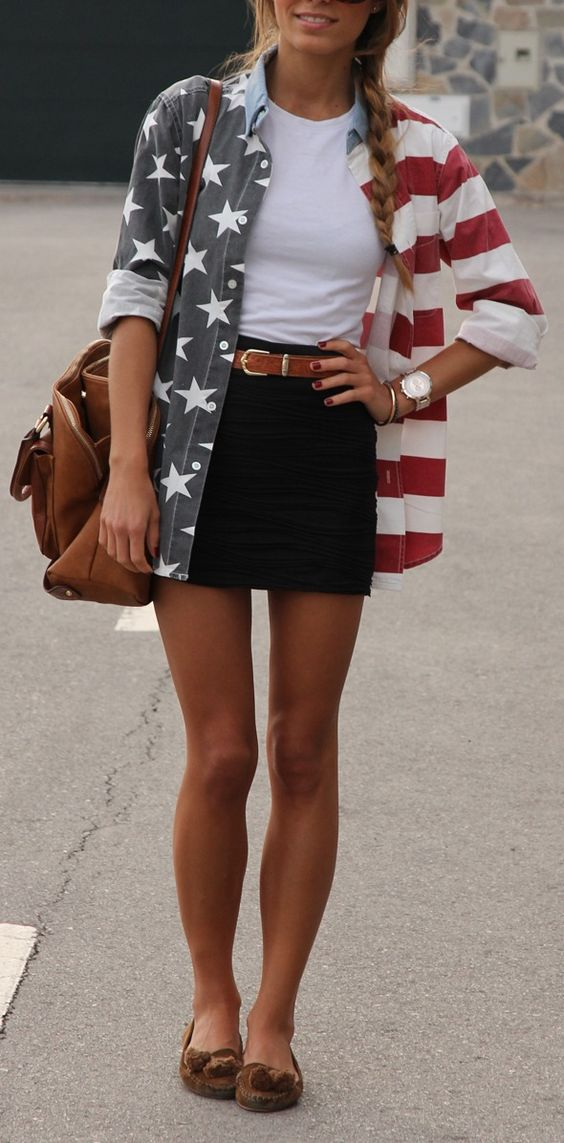 perfect casual style outfit: shirt + top + bag + skirt