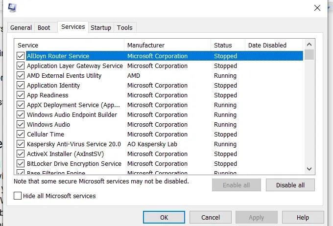 """علامة التبويب """"خدمات Windows غير المستجيبة"""""""