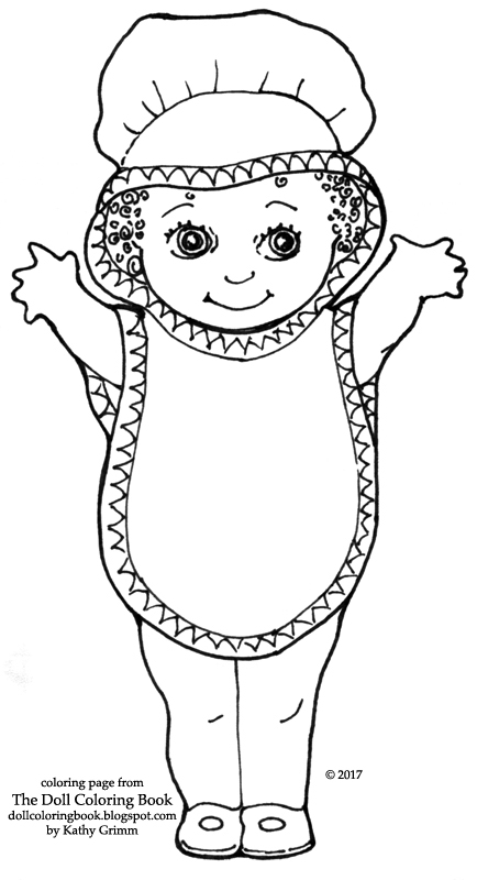 Description Of Coloring Page Mop Cap Big Bib Kewpie Doll With Outstretched Arms