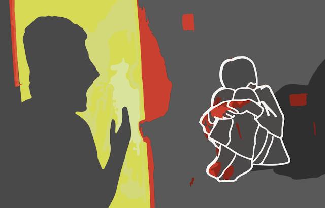 Ilustração de criança sofrendo maus-tratos do pai; abuso físico, sexual, negligência, memória, terapia psicologia