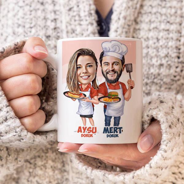 Aşçı Sevgililer Karikatürlü Kupa Bardak