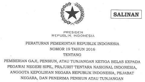 PP Tentang Pemberian Gaji 13 dan Tunjangan Hari Raya (THR) Tahun 2016
