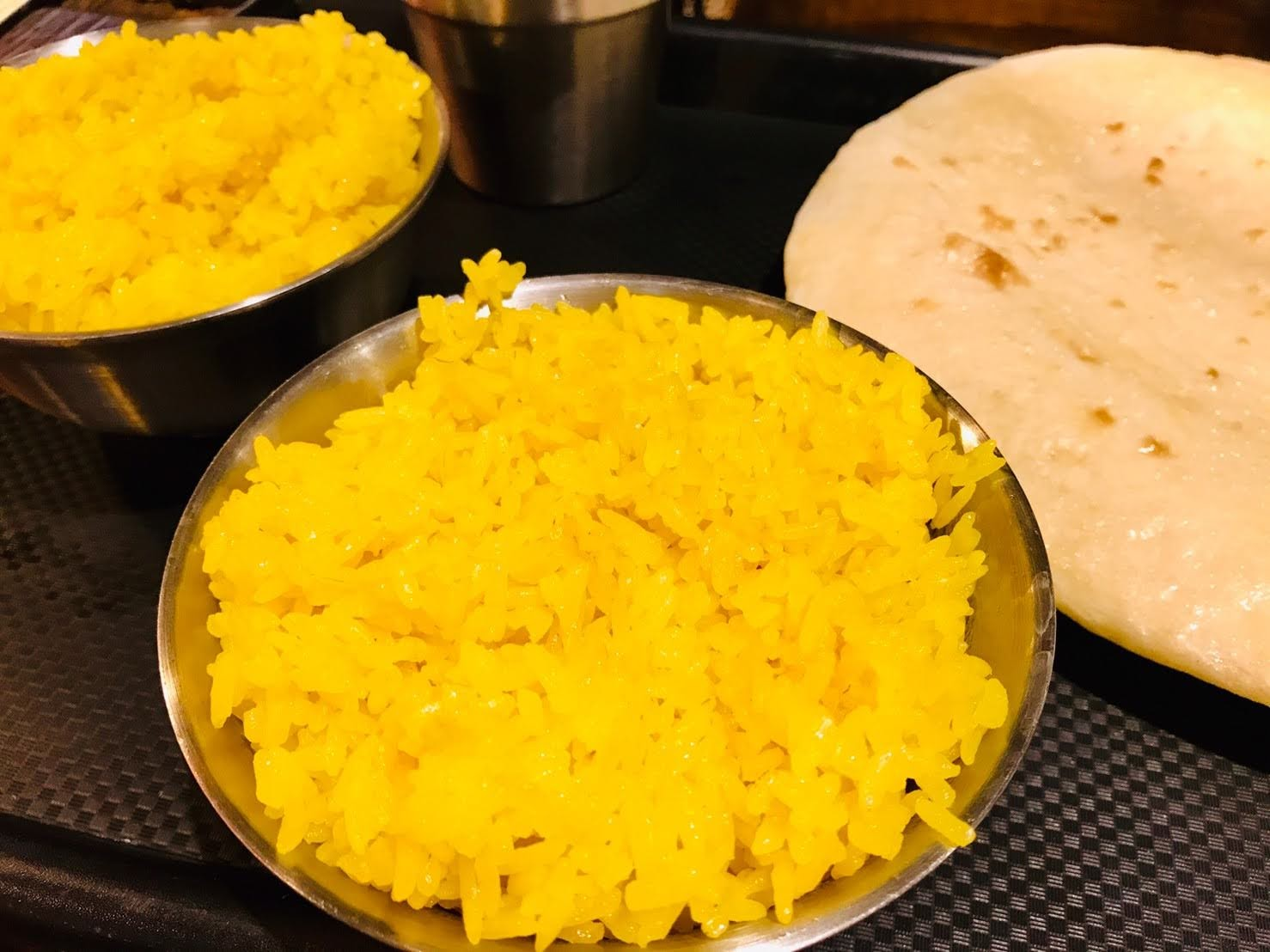 turmeric rice, 薑黃飯, 印度烤餅, 印度料理