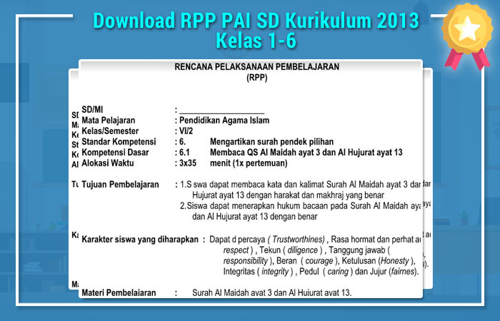 Download RPP PAI SD Kurikulum 2013 Kelas 1-6