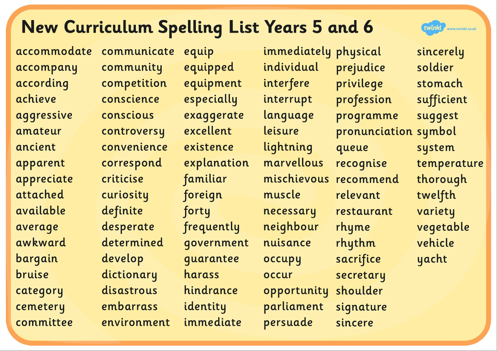 Miss Barrell S Class Year 5 6 Spelling Words