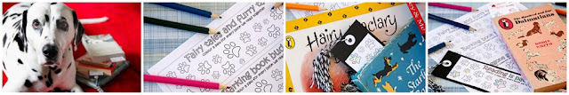 Bookmarks with colouring-in paw prints with children's dog books and a Dalmatian dog