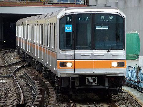 渋谷駅改良工事前に撮影した銀座線 渋谷行き 01系幕車
