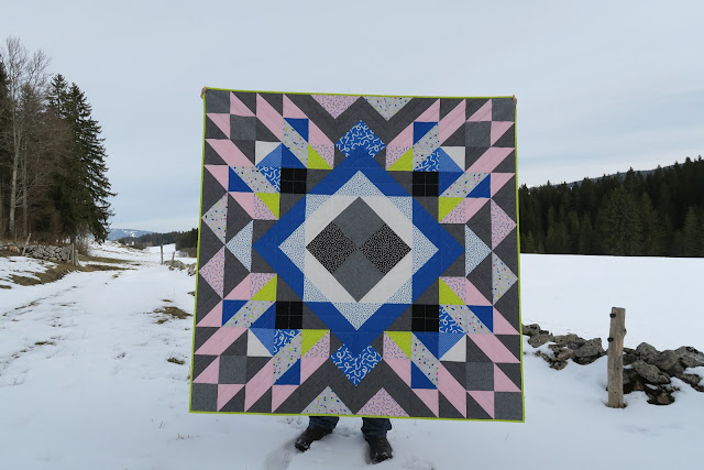 Luna Lovequilts - A finished quilt - Diaspora pattern designed by psbquilts - Snap to Grid collection by Kimberly Kight