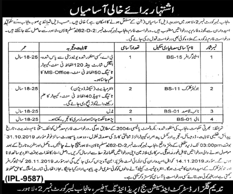 Punjab Labour Court Lahore Jobs 2019