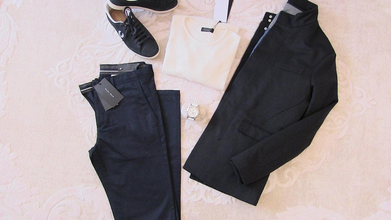 zara lacivert pantolon, zara kapşonlu lacivert mont, zara beyaz ince triko, fred perry ayakkabı