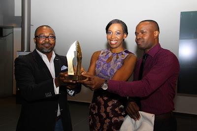 Unveiling+of+the+trophy;+John+Ugbe,+Biola+Alabi+&+Tokunbo+Adodo