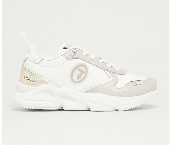 Trussardi Jeans - sneakers de dama albi cu insertii argintii originali