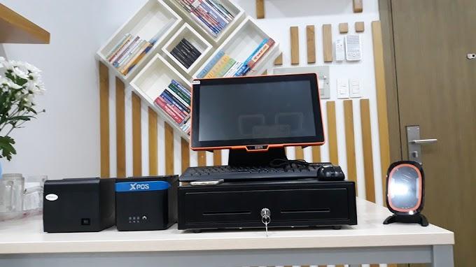 Trọn bộ máy pos cảm ứng, máy in bill khổ 80mm, máy in báo bếp, ngăn kéo đựng tiền khổ lớn: 22.990.000đ