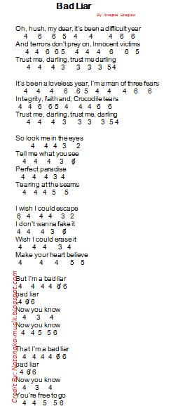 Arti Lagu Bad Liar : Angka, Pianika, Imagine, Dragons