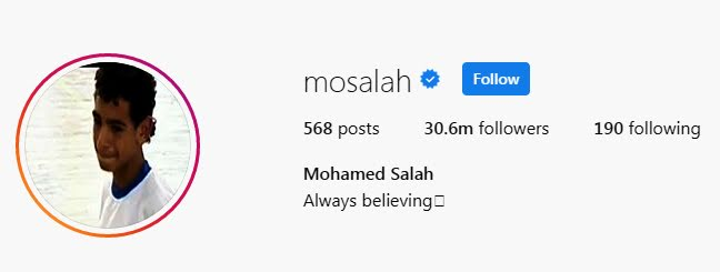 Mohamed Salah Instagram Followers
