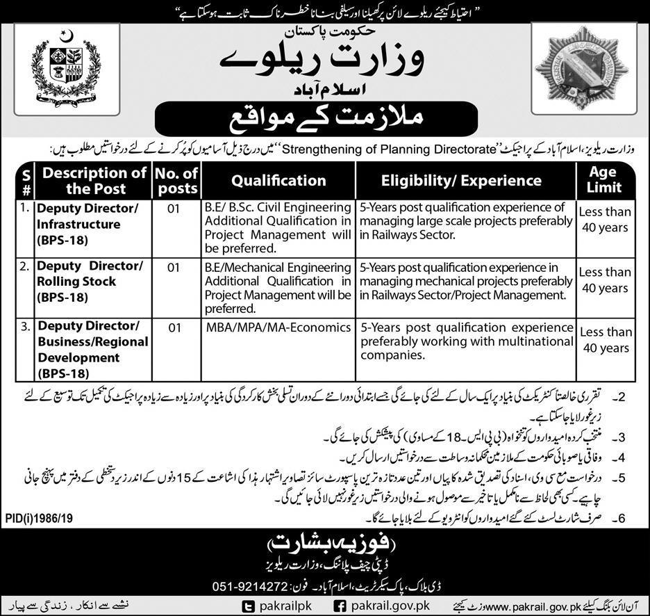 Ministry of Railway Jobs Islamabad 2019