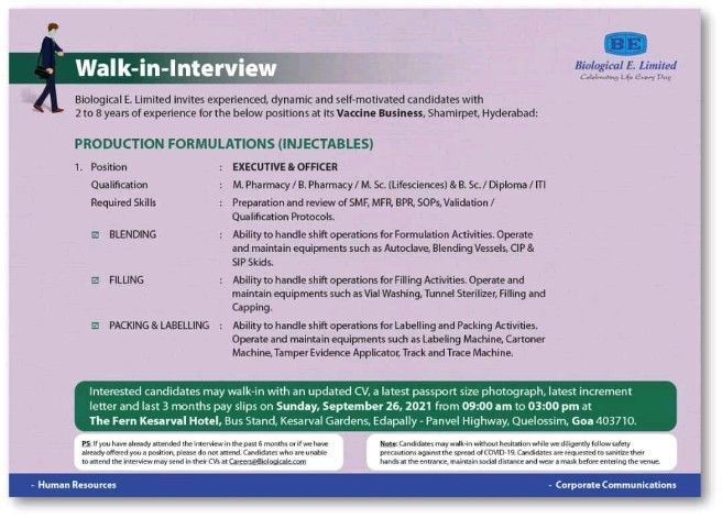 Biological E. Limited is Recruitment M.Pharm / B.Pharm / B.Sc /  M.Sc / Diploma / ITI Candidates for  Production Department