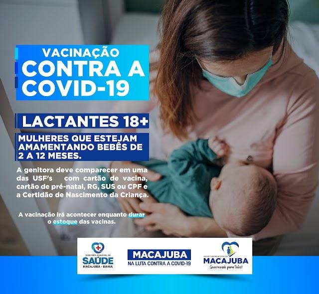 Covid-19: Macajuba amplia vacinação para mães lactantes de bebês com até 12 meses
