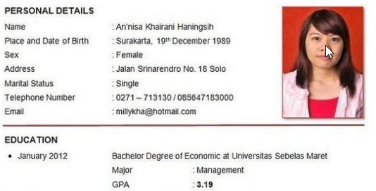 Contoh CV Untuk Mengajukan Magang Atau Kerja Terbaru