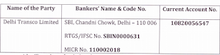 Delhi Transco Limited Recruitment account no