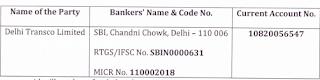 Delhi Transco Limited Recruitment account no