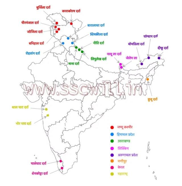 प्रायद्वीप भारत के दर्रे - Praydeep Bharat Ke Darre