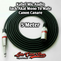 Kabel Mic Audio 5 Meter Jack Akai Mono To Male Canon Canare
