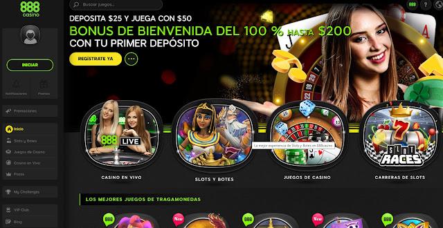 Regístrate en 888 casino y obten un bonus del 100% hasta $200