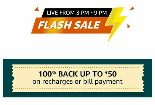 Amazon pay new offer for today-Get 100% cashback upto rs50 on mobile recharge.