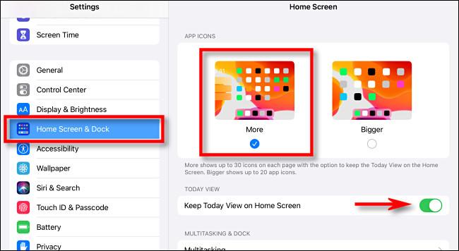"""في إعدادات iPad ، انقر على """"الشاشة الرئيسية والإرساء""""."""