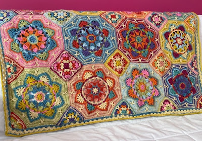 Persian Tiles crochet blanket in the Eastern Jewels colour scheme