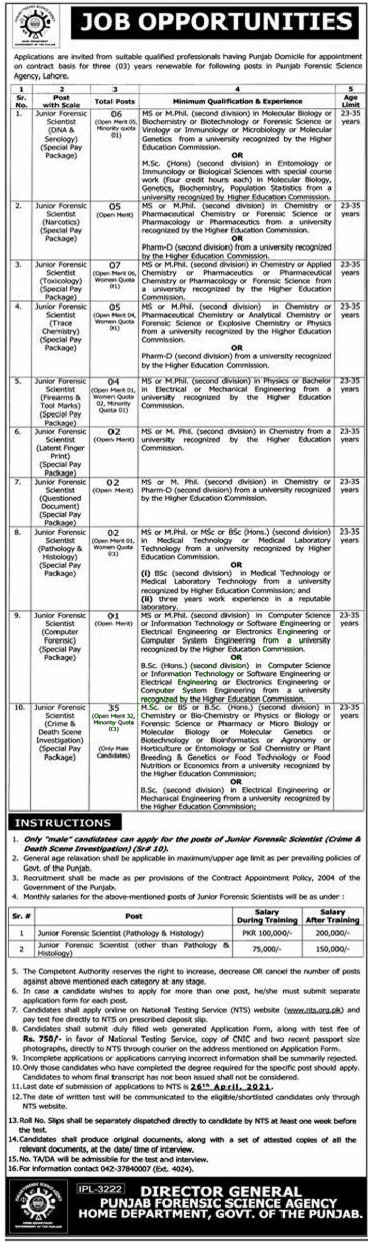 Punjab Forensic Science Agency Jobs Advertisement 2021 in - Apply Online NTS Testing Service