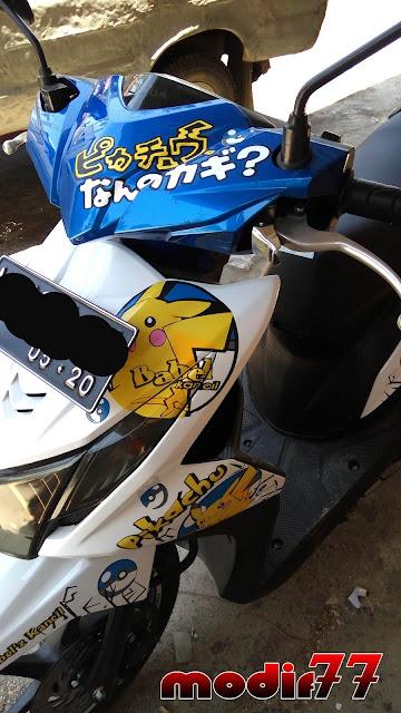 Modifikasi Honda Beat 2015 Full Pikachu Anime Biru Putih Modif 77