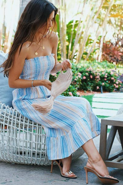 30 Trendy Fall Clothing Ideas for Every Day of Month | Bermuda Dress+ Heel Sandals+ Cult Gaia Bag