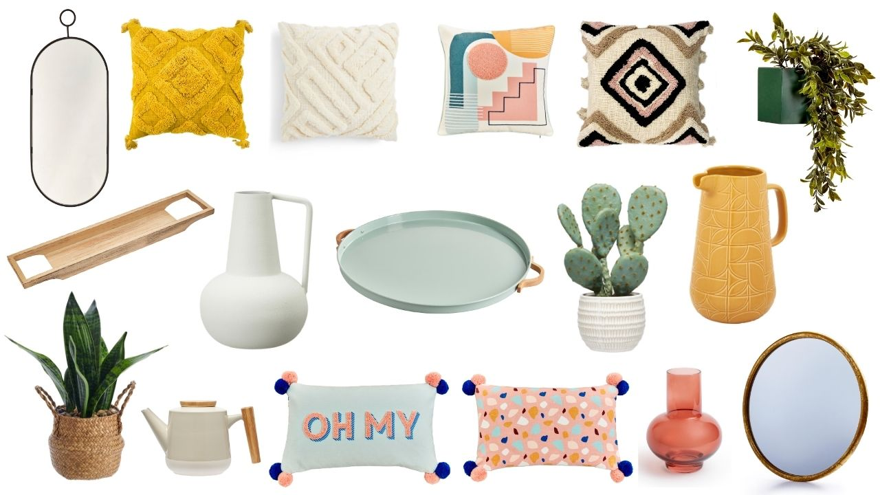 Spring 2021 budget interior decor for your home - from pastel coloured cushions, to boho-inspired wall hangings and plants to add a seasonal touch