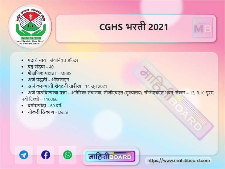 CGHS Bharti 2021